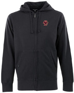 Boston College Mens Signature Full Zip Hooded Sweatshirt (Team Color: Black) - Medium