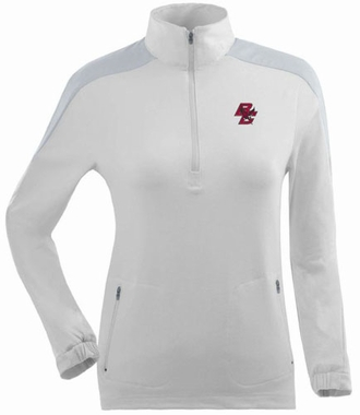 Boston College Womens Succeed 1/4 Zip Performance Pullover (Color: White)