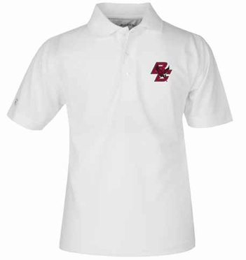 Boston College YOUTH Unisex Pique Polo Shirt (Color: White)