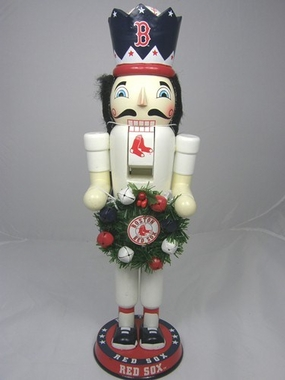 Boston Red Sox 14 Inch Wreath Nutcracker Figurine