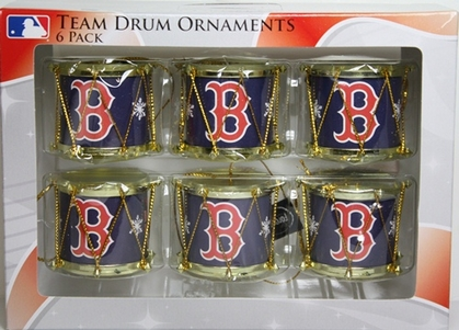 Boston Red Sox 2012 Plastic Drum 6 Pack Ornament Set
