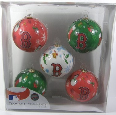 Boston Red Sox 5 Pack Decoupage Ball Ornament Set
