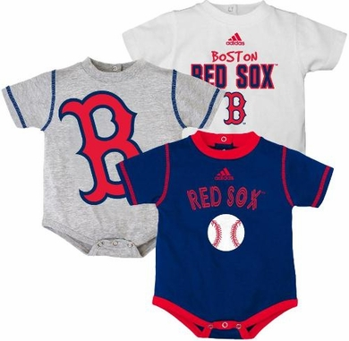 Boston Red Sox Adidas 3 Pack Bodysuit Creeper Set