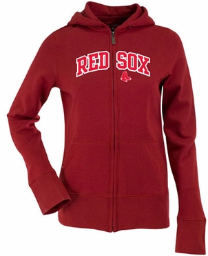 Boston Red Sox Applique Womens Zip Front Hoody Sweatshirt (Team Color: Red)