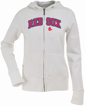 Boston Red Sox Applique Womens Zip Front Hoody Sweatshirt (Color: White)