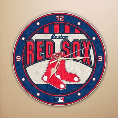 Boston Red Sox Art Glass Clock