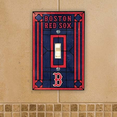 Boston Red Sox Art Glass Lightswitch Cover