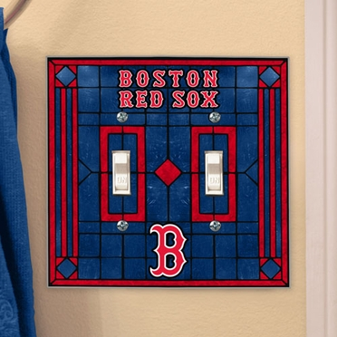 Boston Red Sox Art Glass Lightswitch Cover (Double)