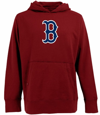 Boston Red Sox Big Logo Mens Signature Hooded Sweatshirt (Team Color: Red)