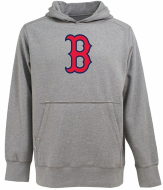 Boston Red Sox Big Logo Mens Signature Hooded Sweatshirt (Color: Gray)