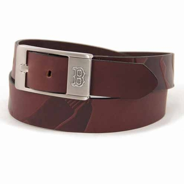 Boston Red Sox Brown Leather Brandished Belt