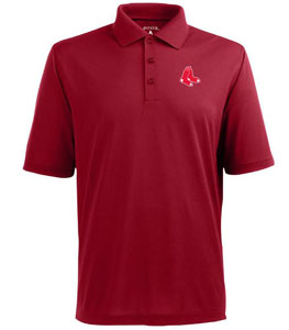 Boston Red Sox Mens Pique Xtra Lite Polo Shirt (Team Color: Red) - Large