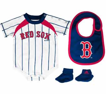 Boston Red Sox Creeper Bib and Bootie Set - 3-6 Months