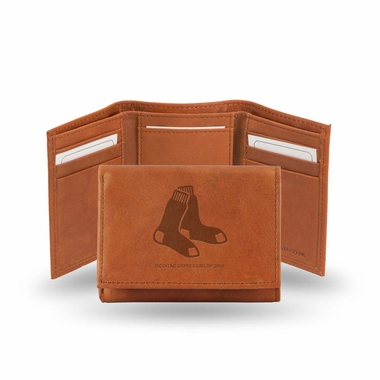 Boston Red Sox Embossed Leather Trifold Wallet
