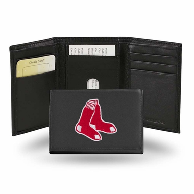 Boston Red Sox Embroidered Leather Tri-Fold Wallet