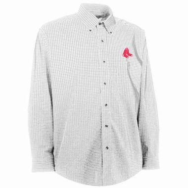 Boston Red Sox Mens Esteem Check Pattern Button Down Dress Shirt (Color: White)