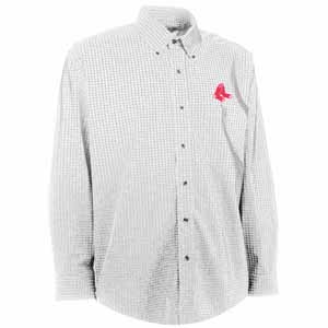 Boston Red Sox Mens Esteem Check Pattern Button Down Dress Shirt (Color: White) - Medium