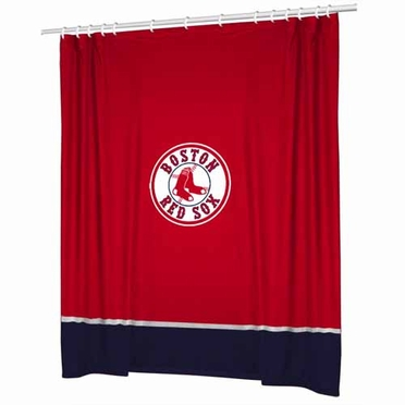 Boston Red Sox Jersey Material Shower Curtain