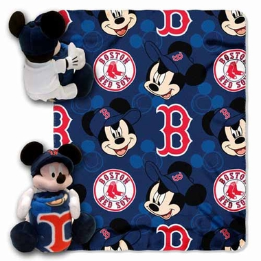 Boston Red Sox Mickey Mouse Pillow / Throw Combo