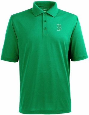 Boston Red Sox Mens Pique Xtra Lite Polo Shirt (Team Color: Green)