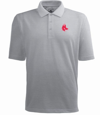 Boston Red Sox Mens Pique Xtra Lite Polo Shirt (Color: Gray)
