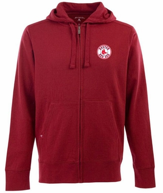 Boston Red Sox Mens Signature Full Zip Hooded Sweatshirt (Team Color: Red)