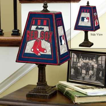Boston Red Sox Small Art Glass Lamp