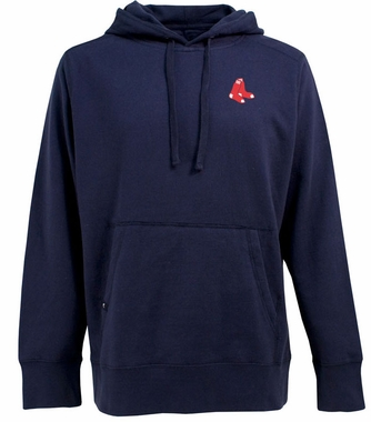 Boston Red Sox (Sox Logo) Mens Signature Hooded Sweatshirt (Team Color: Navy)