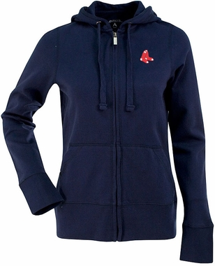 Boston Red Sox (Sox Logo) Womens Zip Front Hoody Sweatshirt (Team Color: Navy)