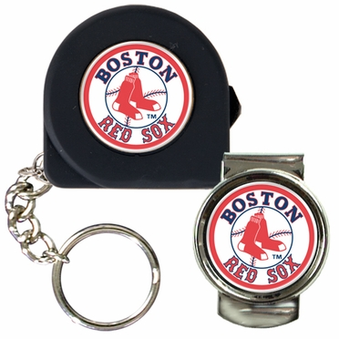 Boston Red Sox Tape Measure Key Chain and Money Clip Set