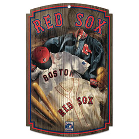 Boston Red Sox Wood Sign w/ Throwback Jersey