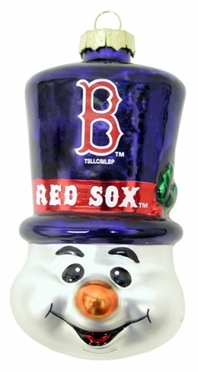 Boston Red Sox Tophat Snowman Glass Ornament