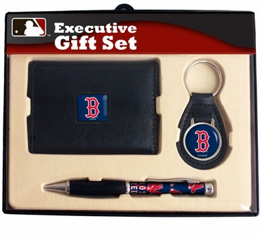 Boston Red Sox Trifold Wallet Key Fob and Pen Gift Set