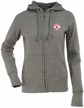 Boston Red Sox Womens Zip Front Hoody Sweatshirt (Color: Gray)