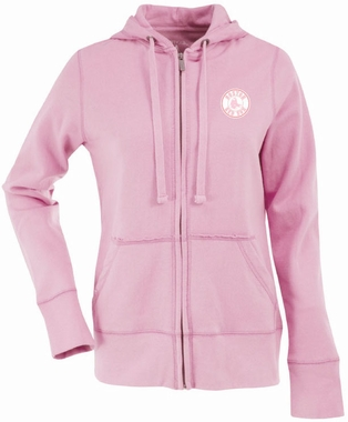 Boston Red Sox Womens Zip Front Hoody Sweatshirt (Color: Pink)