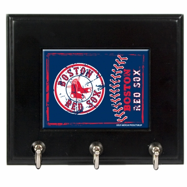 Boston Red Sox Wooden Keyhook Rack