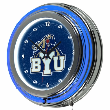 Brigham Young 14 Inch Neon Clock