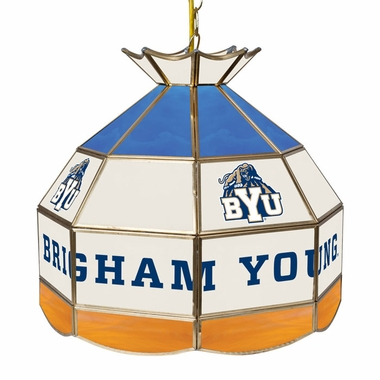 Brigham Young 16 Inch Diameter Stained Glass Pub Light