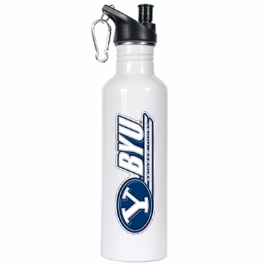 Brigham Young 26oz Stainless Steel Water Bottle (White)