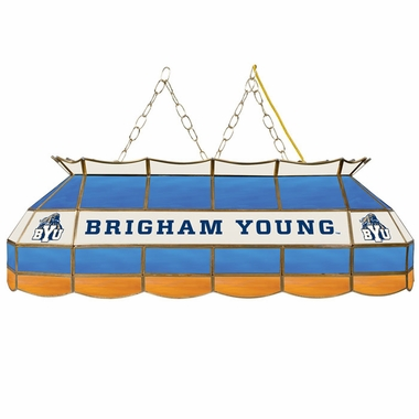 Brigham Young 40 Inch Rectangular Stained Glass Billiard Light