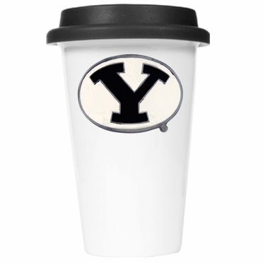 Brigham Young Ceramic Travel Cup (Black Lid)