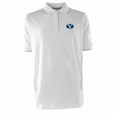 Brigham Young Mens Elite Polo Shirt (Color: White)