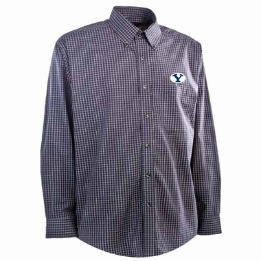 Brigham Young Mens Esteem Check Pattern Button Down Dress Shirt (Team Color: Navy)