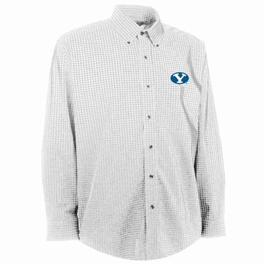 Brigham Young Mens Esteem Check Pattern Button Down Dress Shirt (Color: White)