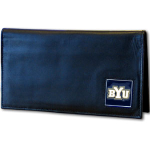 Brigham Young Leather Checkbook Cover