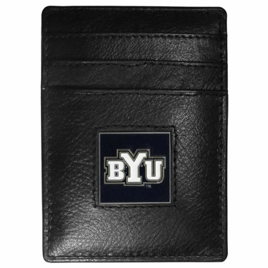 BYU Cougars Leather Money Clip/Cardholder Packaged in Gift Box (F)