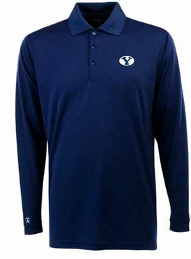 Brigham Young Mens Long Sleeve Polo Shirt (Team Color: Navy)