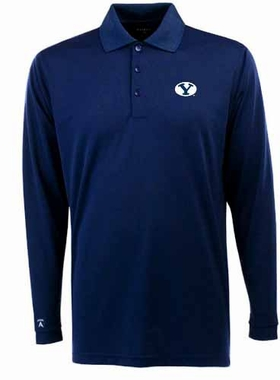 Brigham Young Mens Long Sleeve Polo Shirt (Color: Navy)