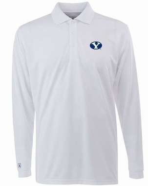 Brigham Young Mens Long Sleeve Polo Shirt (Color: White)