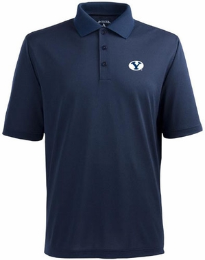 Brigham Young Mens Pique Xtra Lite Polo Shirt (Color: Navy)